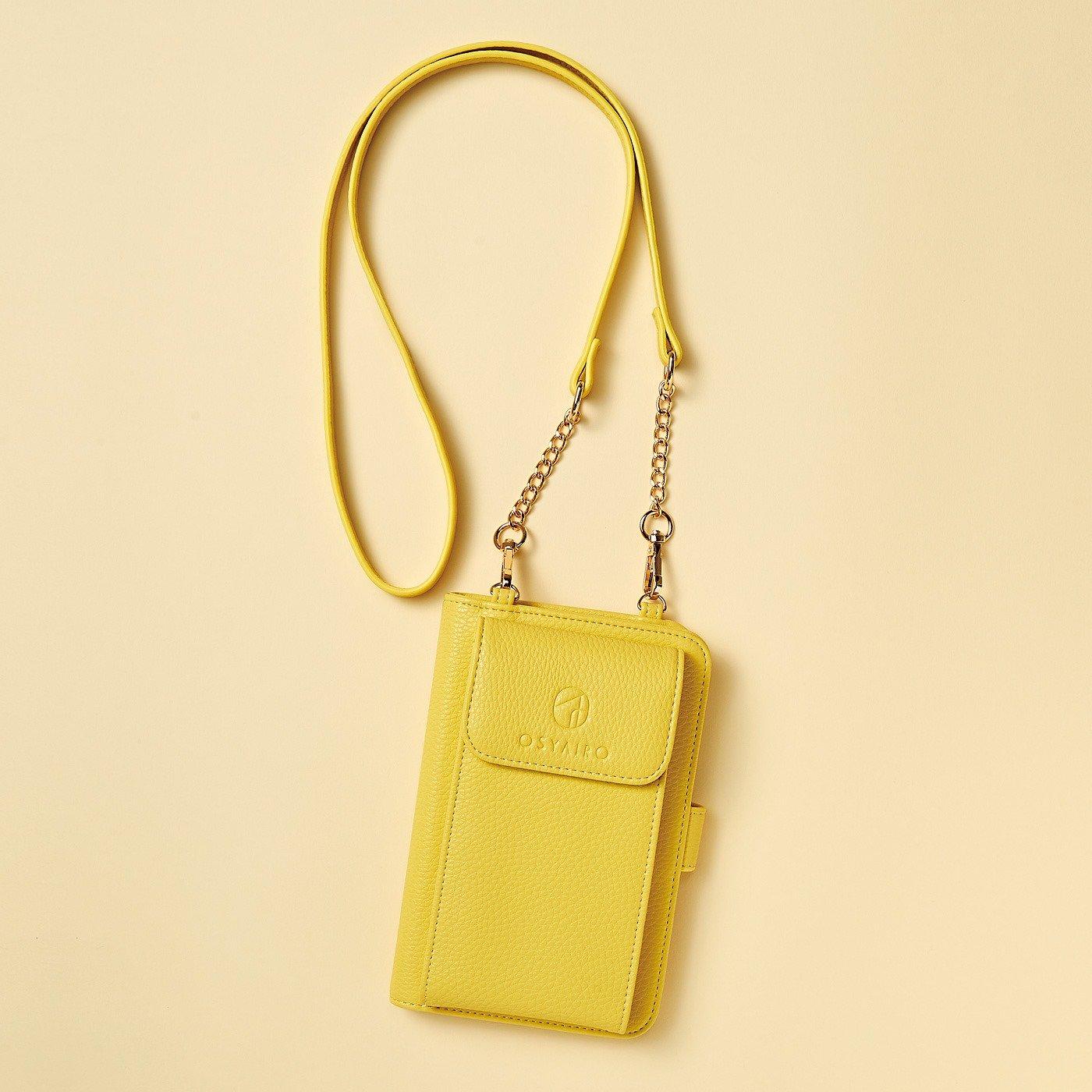 【3~10日でお届け】 OSYAIRO フォトポケットが付いた スマホ&おさいふポーチ〈イエロー〉