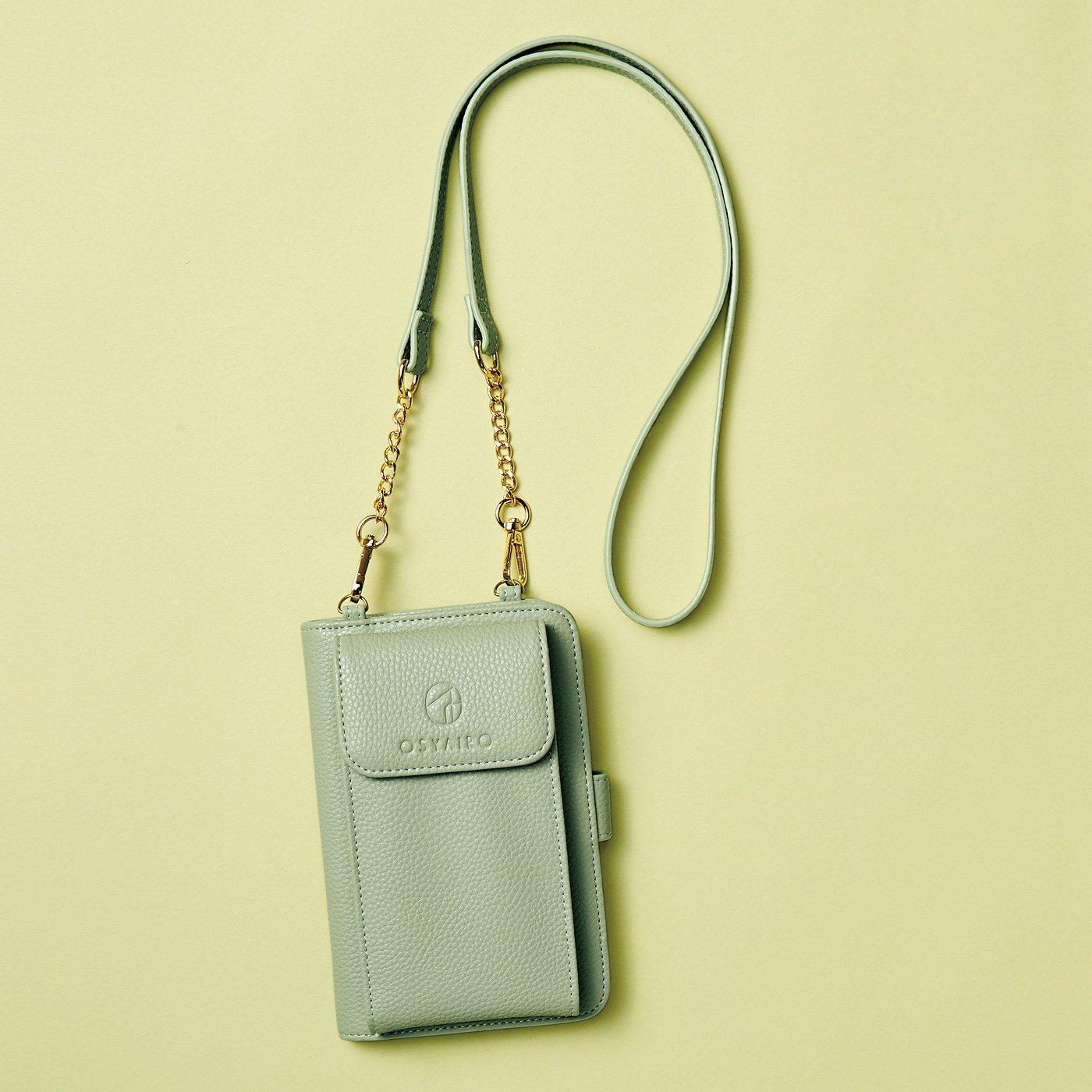 【3~10日でお届け】 OSYAIRO フォトポケットが付いた スマホ&おさいふポーチ〈グリーン〉