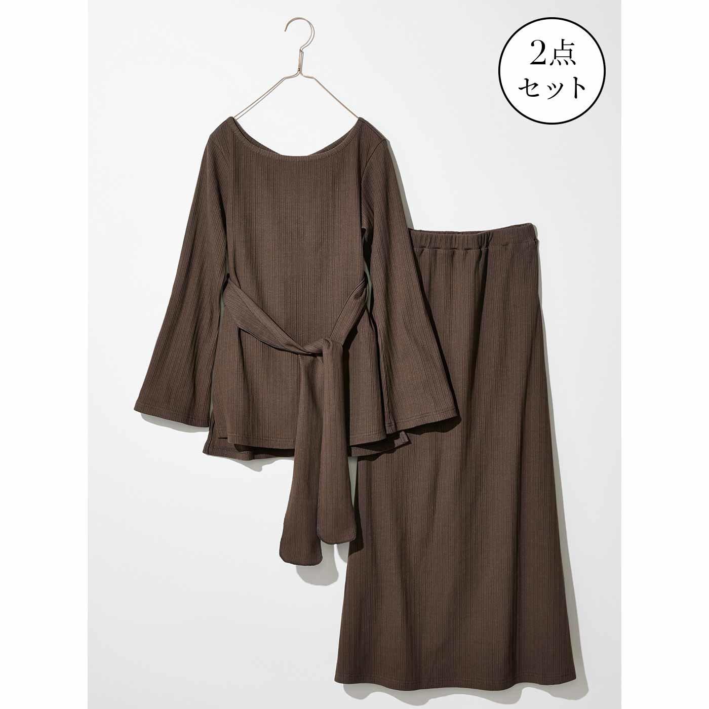 【3~10日でお届け】IEDIT[イディット] カットソーリブのロングスカートセットアップ〈ブラウン〉