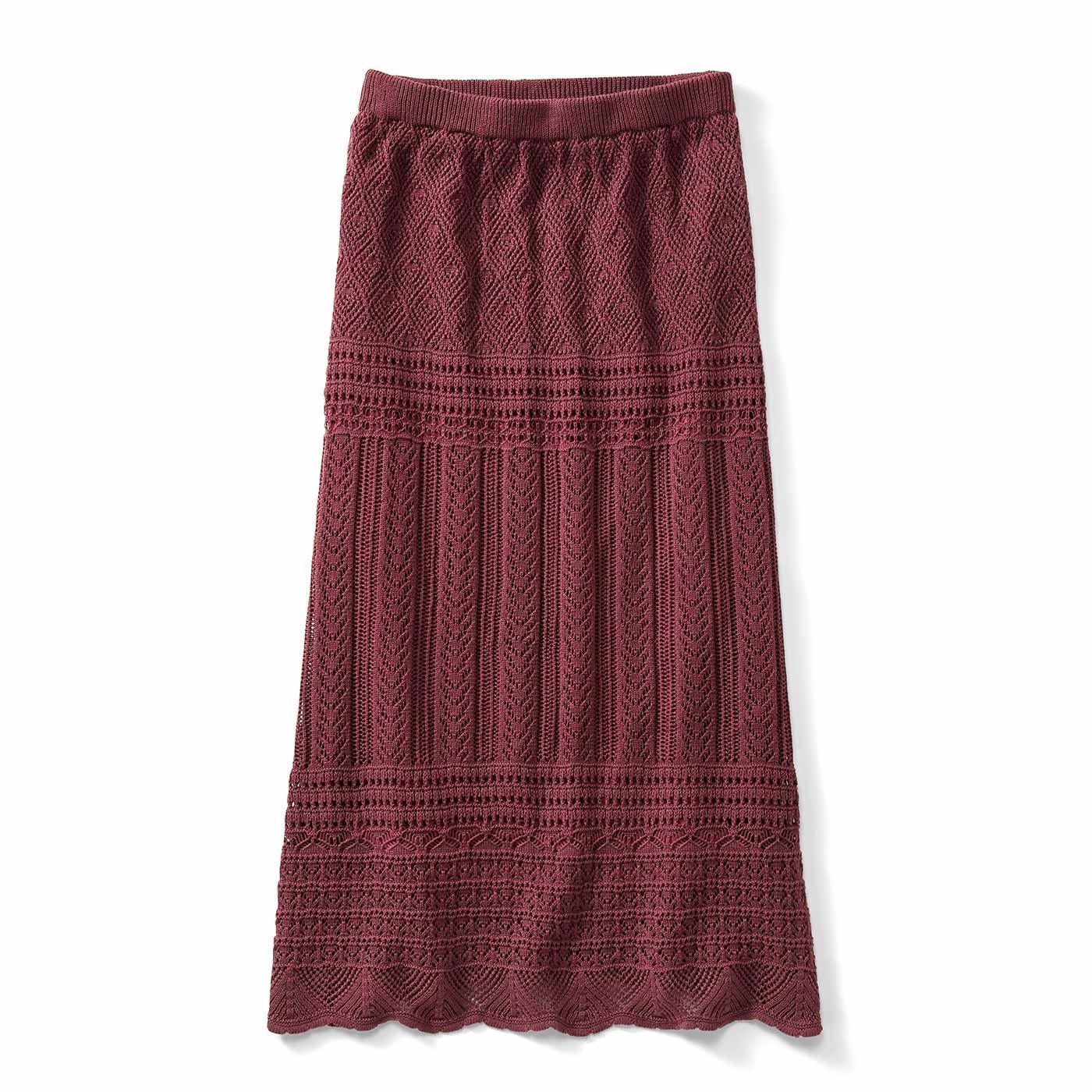 【3~10日でお届け】IEDIT[イディット] クロシェ編み風ロングニットスカート〈テラコッタブラウン〉