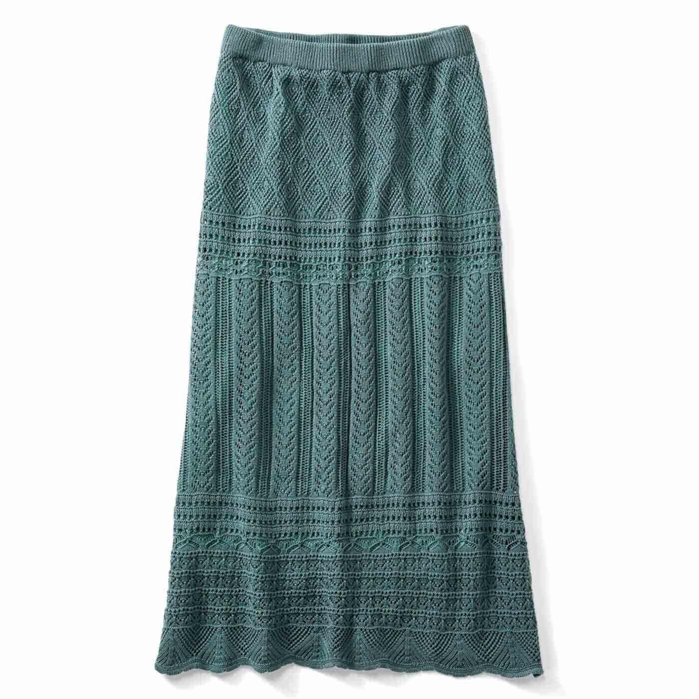 【3~10日でお届け】IEDIT[イディット] クロシェ編み風ロングニットスカート〈グリーン〉