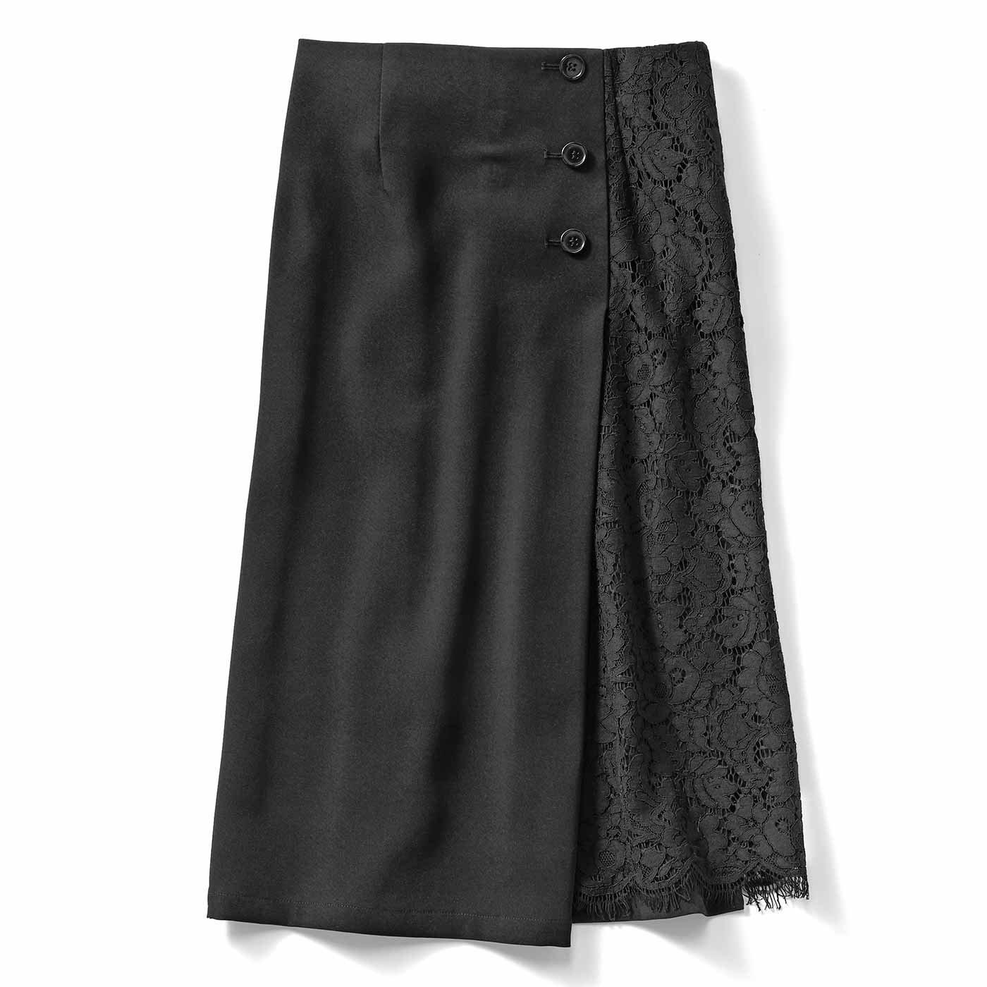 IEDIT[イディット] サイドレースが上品に華やぐ 伸びやかなストレッチスカート〈ブラック〉
