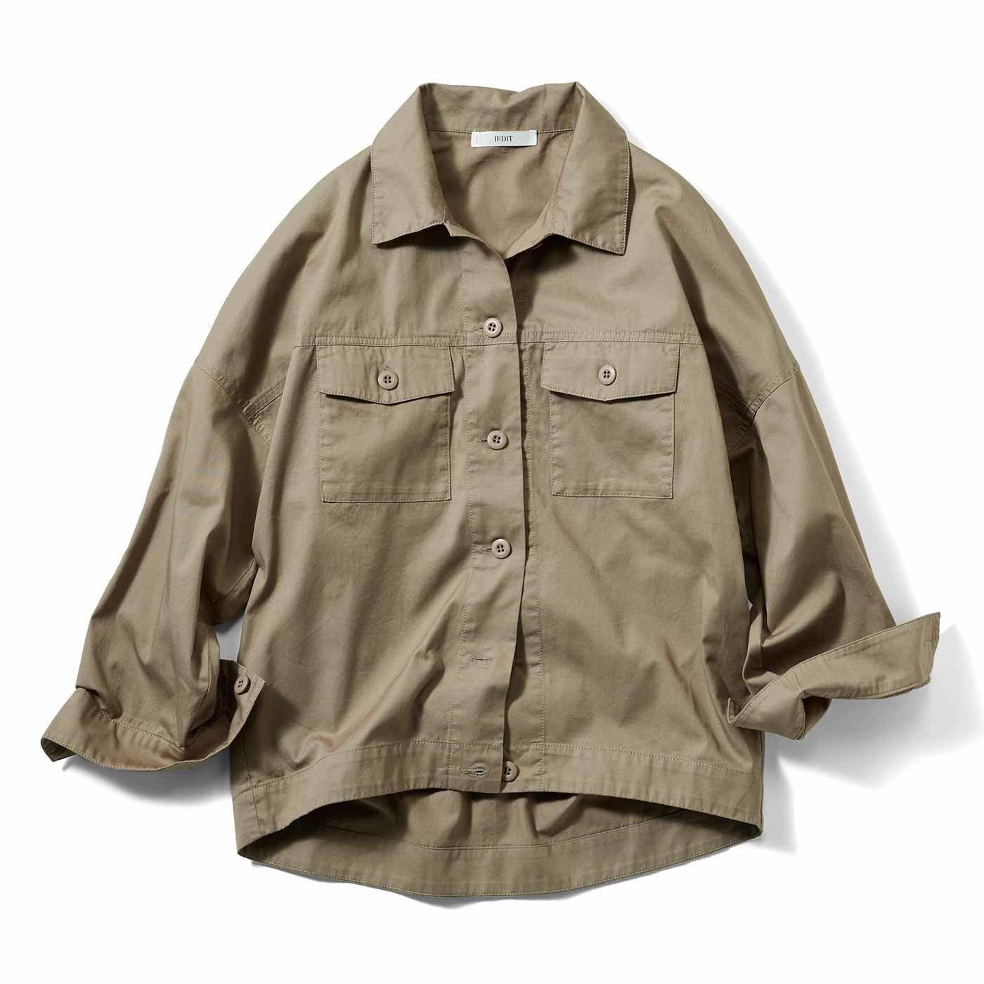 【3~10日でお届け】IEDIT[イディット] コットン素材のミリタリーシャツジャケット〈グレイッシュカーキ〉
