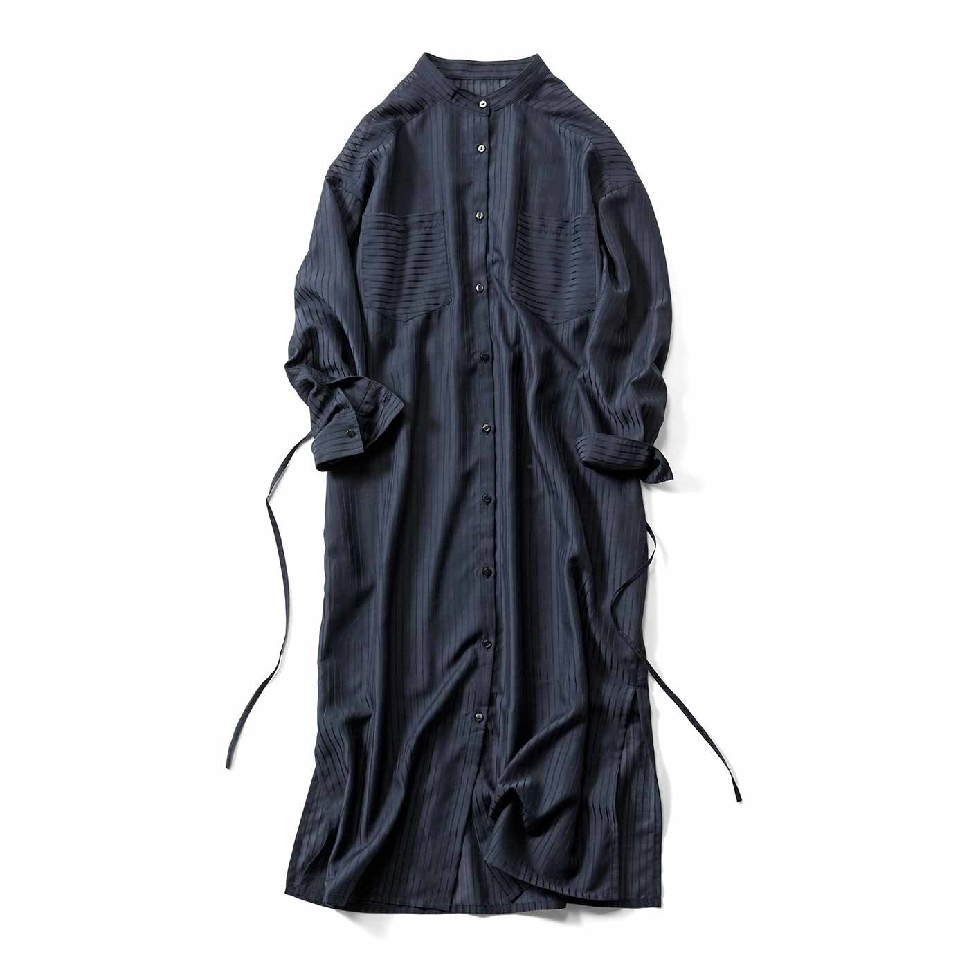 【3~10日でお届け】IEDIT[イディット] シアー素材のストライプロングシャツドレス〈ネイビー〉
