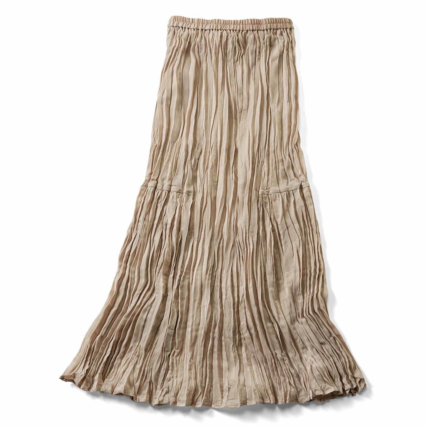 【3~10日でお届け】IEDIT[イディット] ワッシャー加工が美しい 切り替えマキシスカート〈グレージュ〉