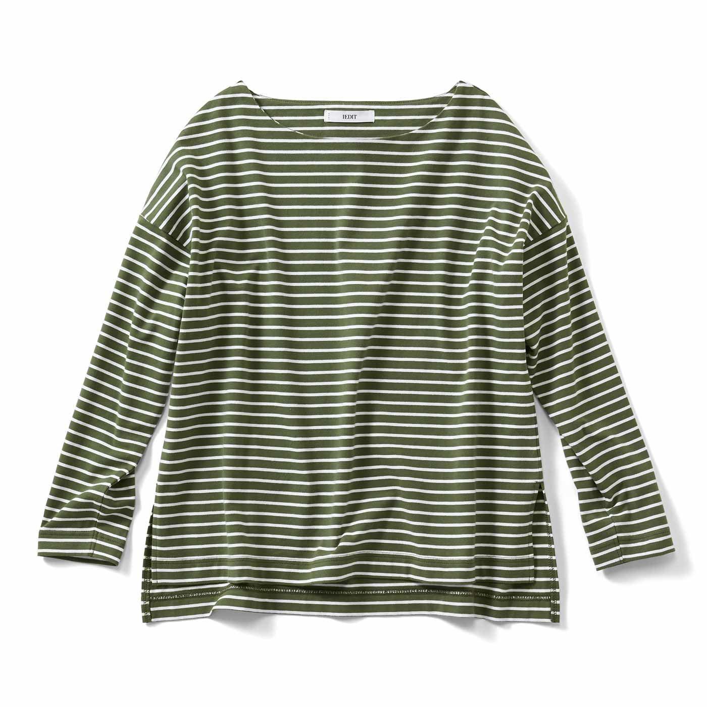 【3~10日でお届け】IEDIT[イディット] 福田麻琴さんコラボ ピッチにこだわった大人ゆるボーダーTシャツ〈セージグリーン〉
