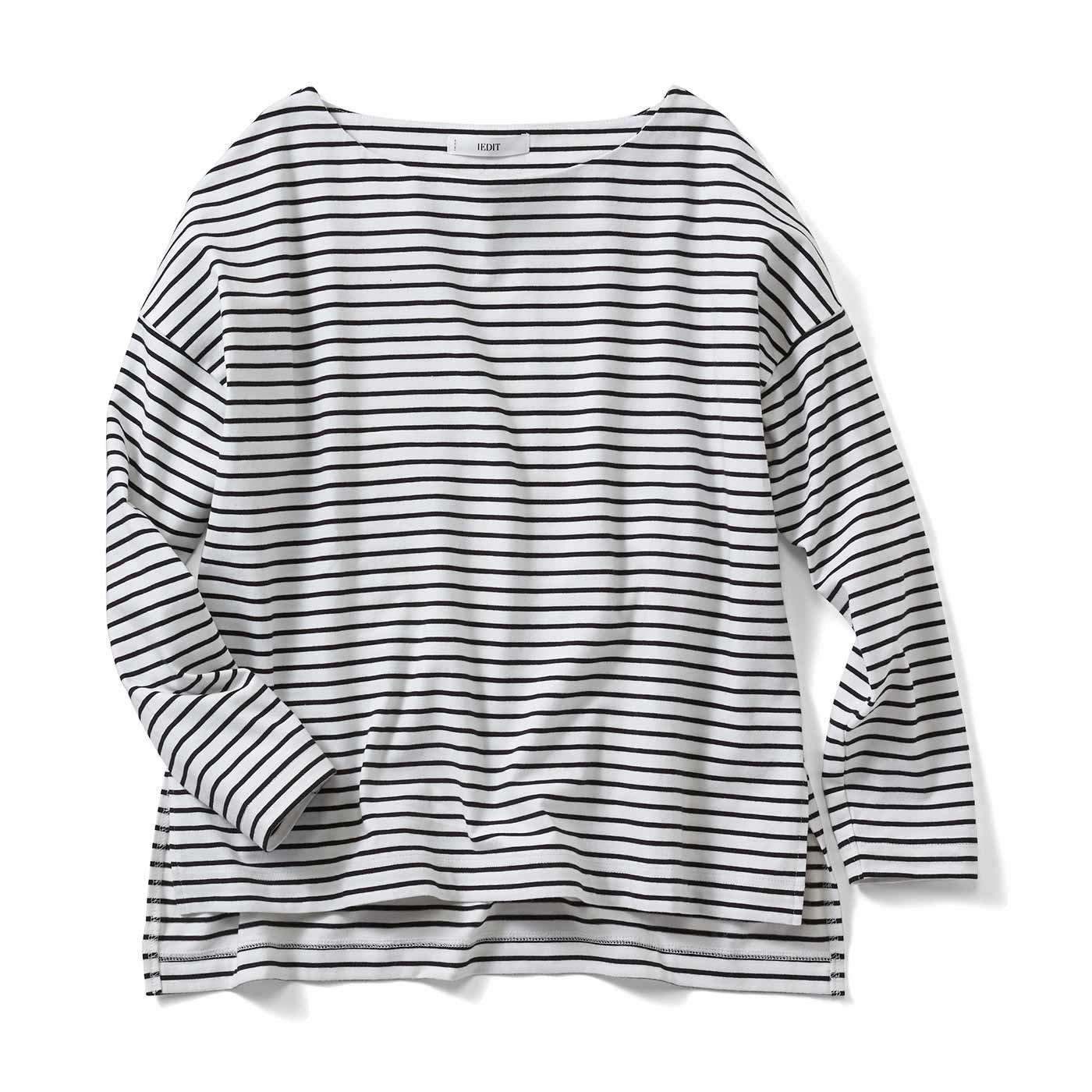 【3~10日でお届け】IEDIT[イディット] 福田麻琴さんコラボ ピッチにこだわった大人ゆるボーダーTシャツ〈ブラック×ホワイト〉