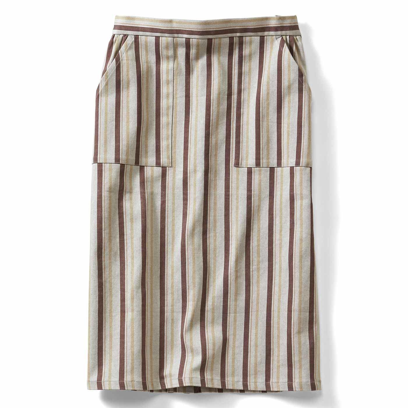 IEDIT[イディット] ストレッチサテン素材で伸びやか ストライプ柄Iラインスカート〈ベージュ〉