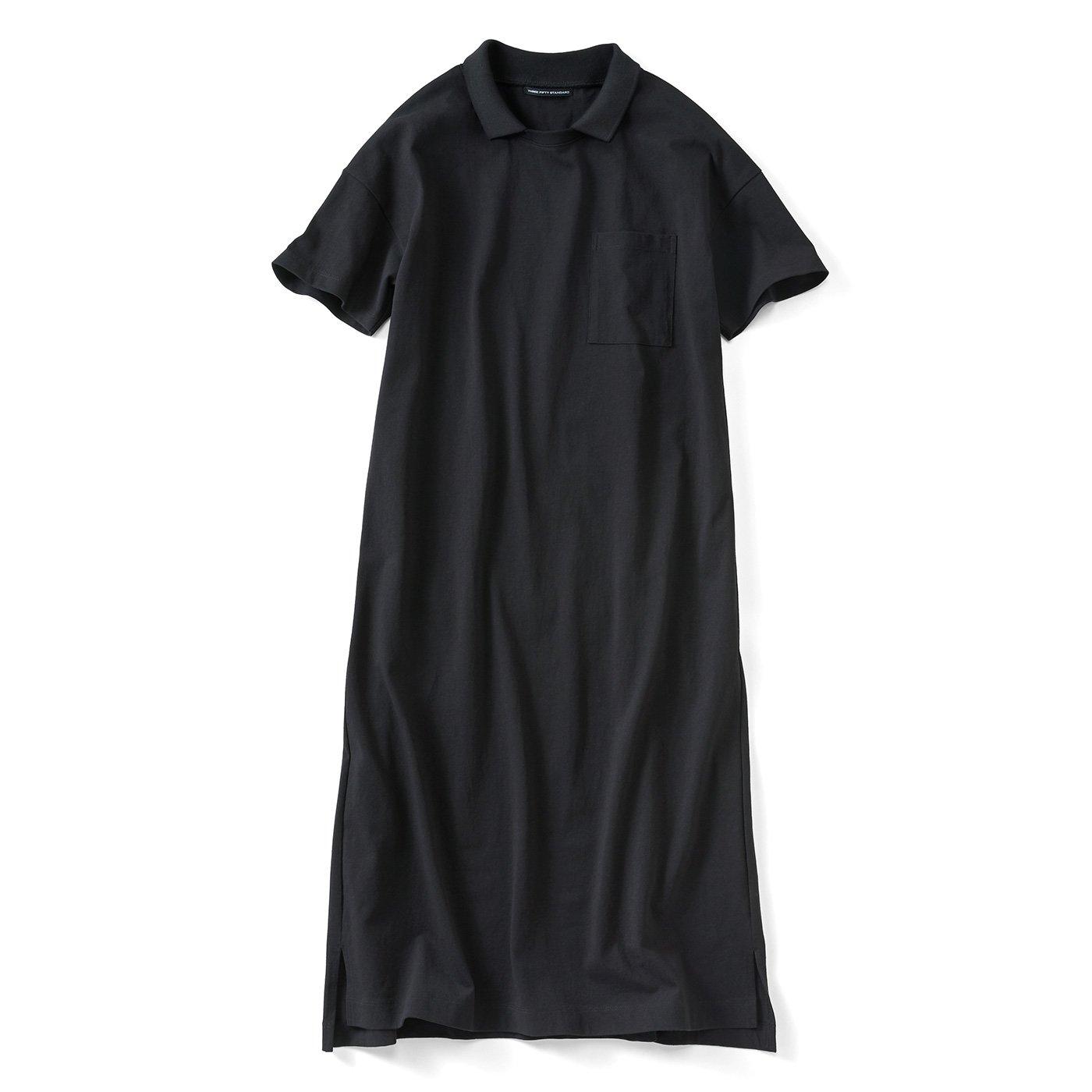 THREE FIFTY STANDARD ゆるシルエットのポロ衿付きワンピース〈黒〉