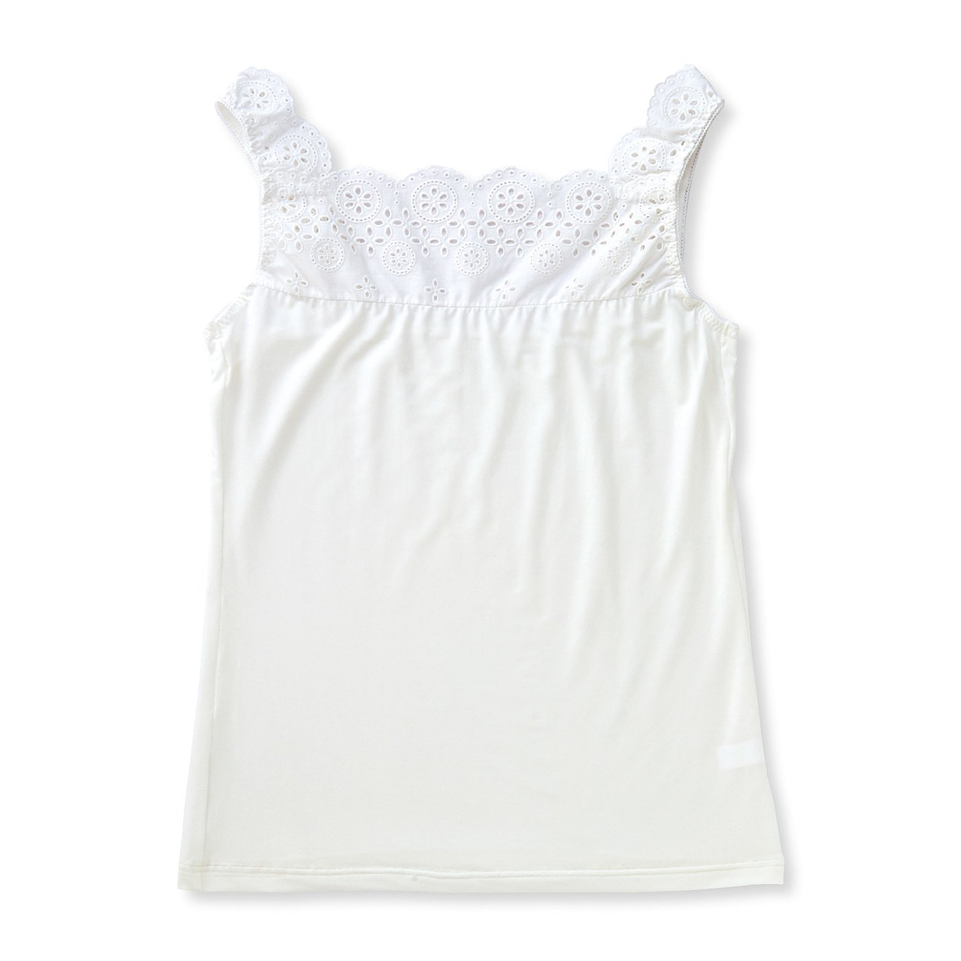 コットンレースで衿もと華やぐ とろけるような素材でおなかフィットインナーの会