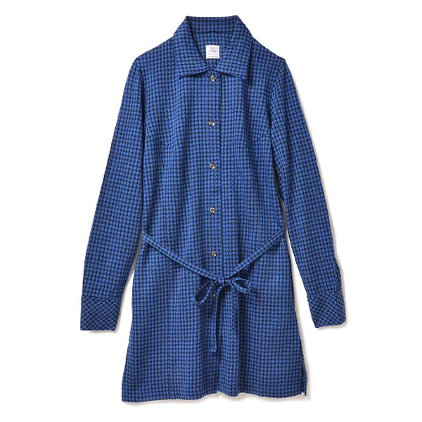 HIROMI YOSHIDA. カットソーの丈長チェックシャツ(ブルー)