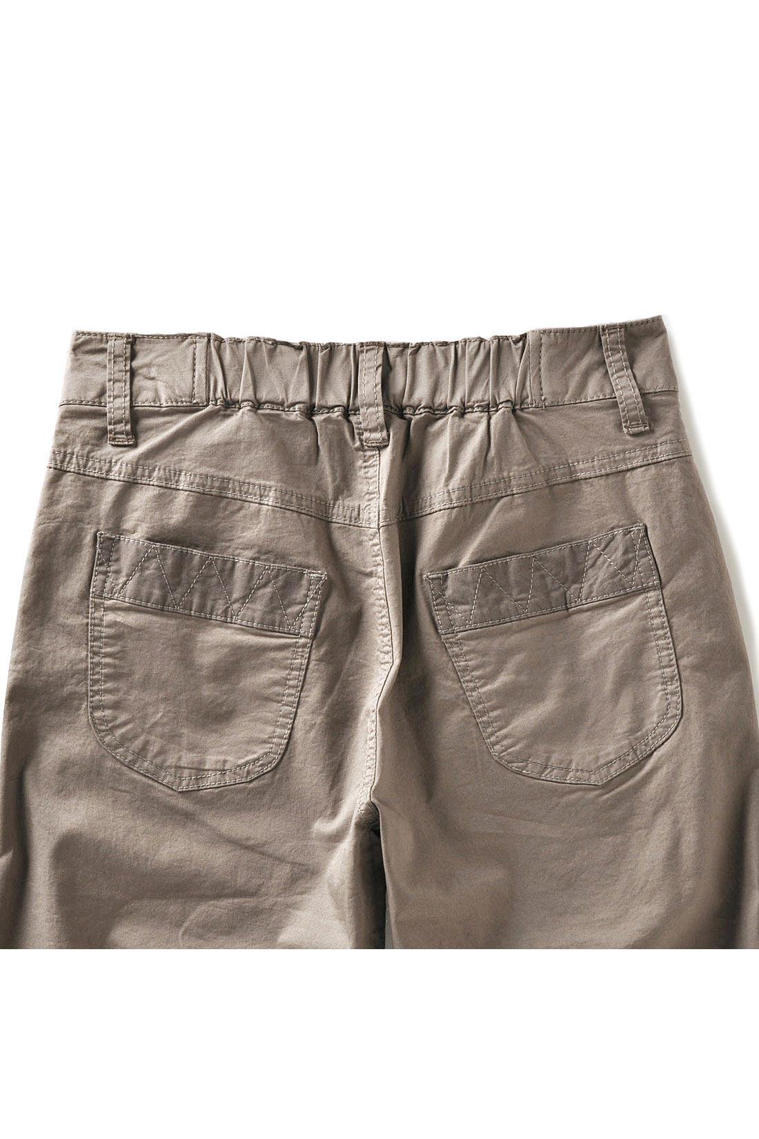 ポケットやすそに少し配色を入れたり、ステッチワークにもこだわり。