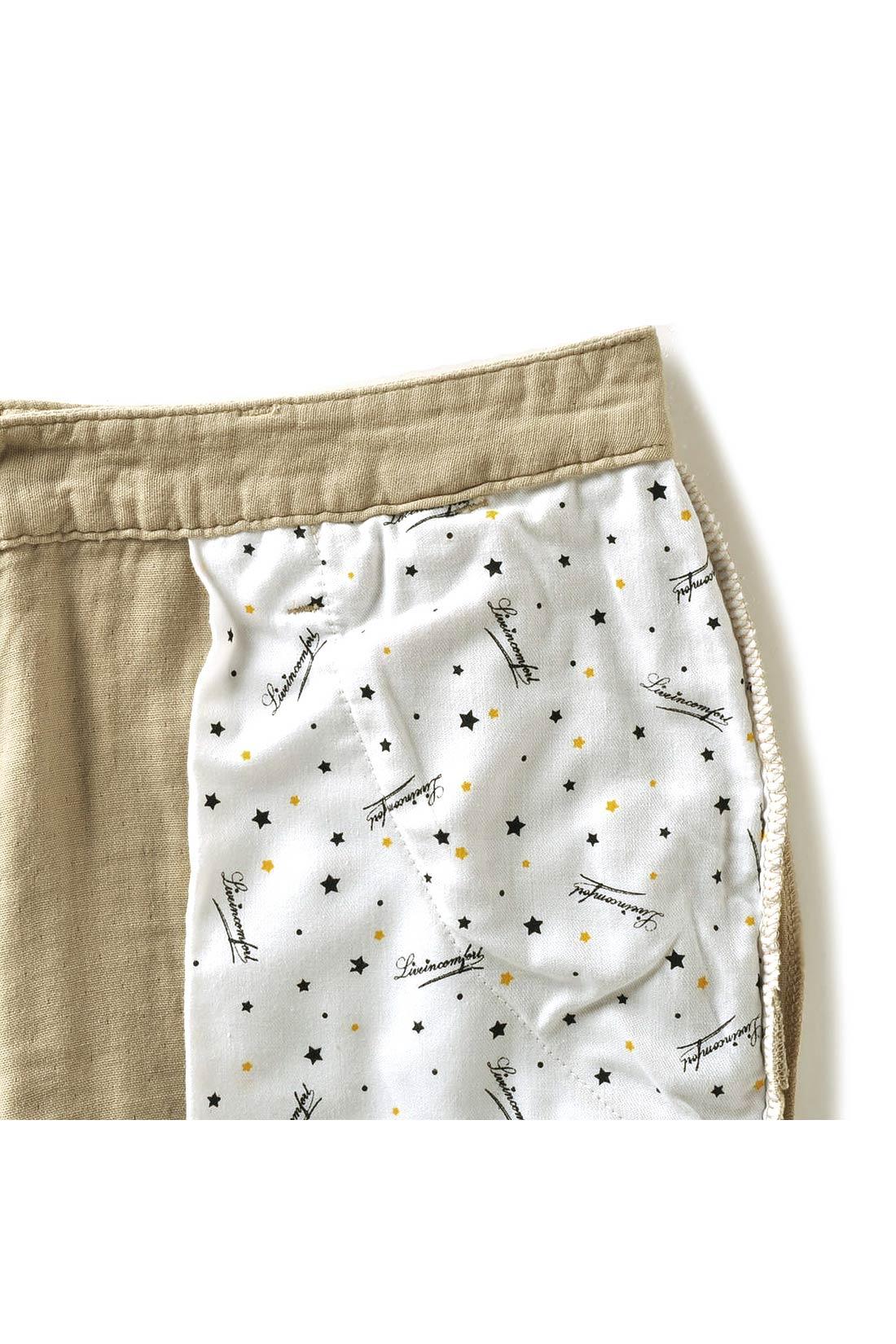 前ポケットの裏地はオリジナルの星柄プリント。