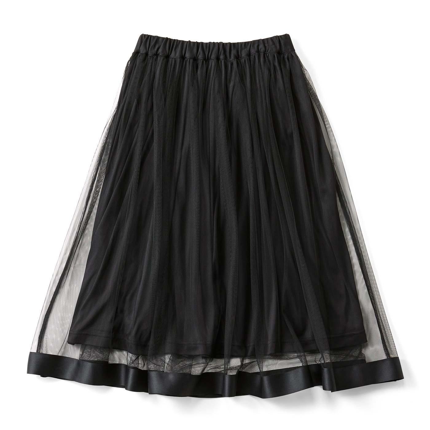 フェリシモ おじょうさんチュールスカート〈ブラック〉
