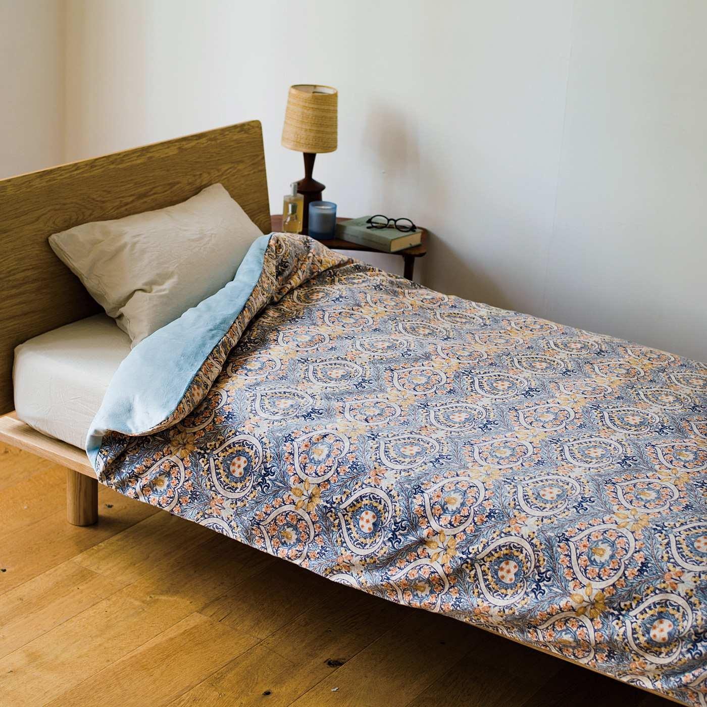 V&A Arts&Crafts collection とことん眠りにこだわった 綿起毛でリッチな寝心地 ウォームパイル 掛けふとんカバー イーデン〈シングル〉