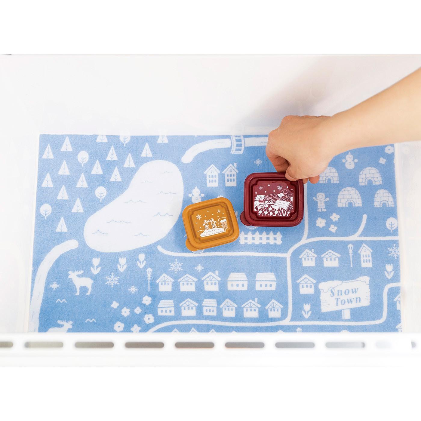 冷凍庫マット スノータウンの地図をイメージしたデザインがキュート!冷凍庫の底に敷いて、汚れたらさっと洗えてお手入れらくちん♪
