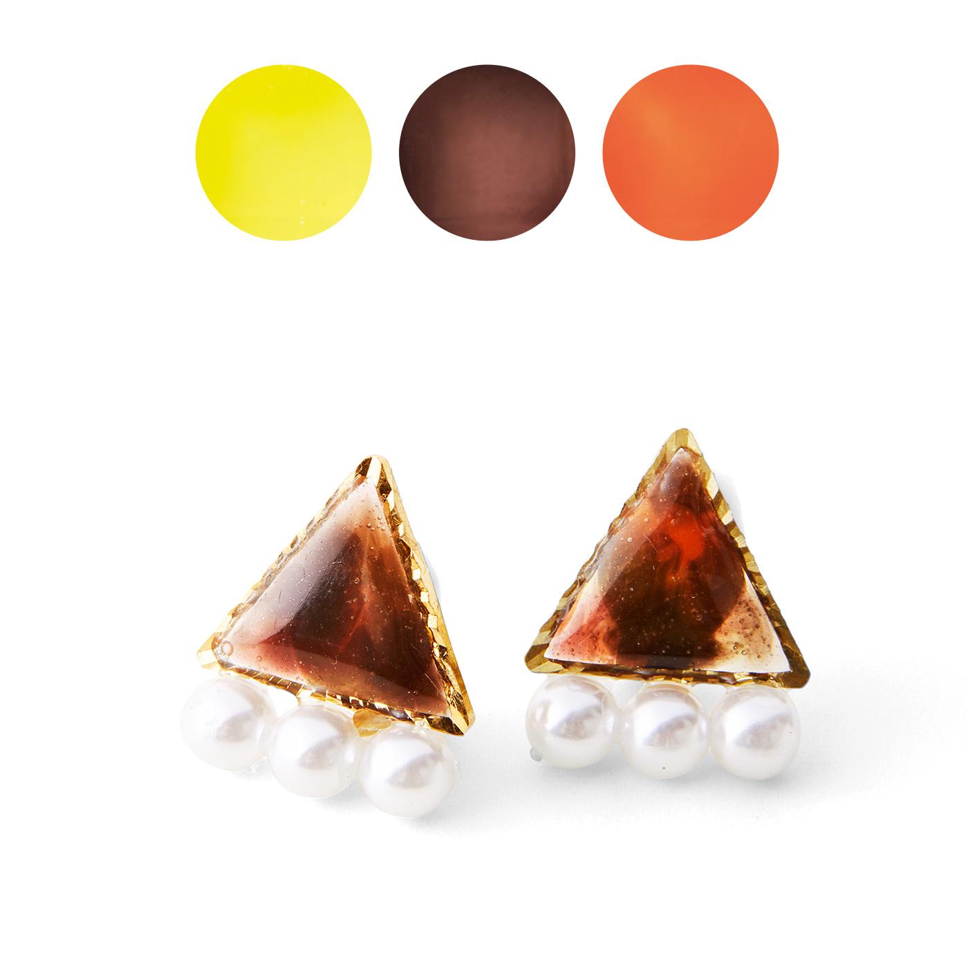 アースカラー〈イエロー〉〈ブラウン〉〈オレンジ〉 べっ甲風アレンジ ※アレンジ作品例のチェーン・ブローチピン・ピアス金具はお届け内容に含まれません。