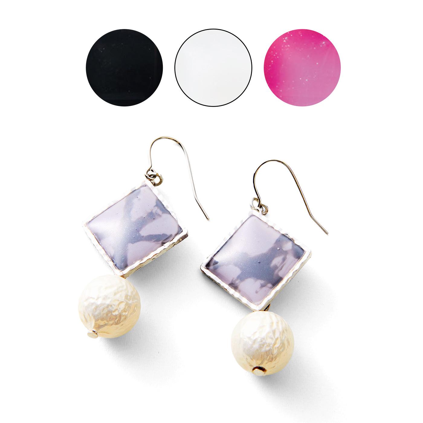 シティーカラー〈ブラック〉〈ホワイト〉〈ピンク〉 大理石風アレンジ ※アレンジ作品例のチェーン・ブローチピン・ピアス金具はお届け内容に含まれません。 ※ホワイトは「マリンカラー」と「シティーカラー」共通です。