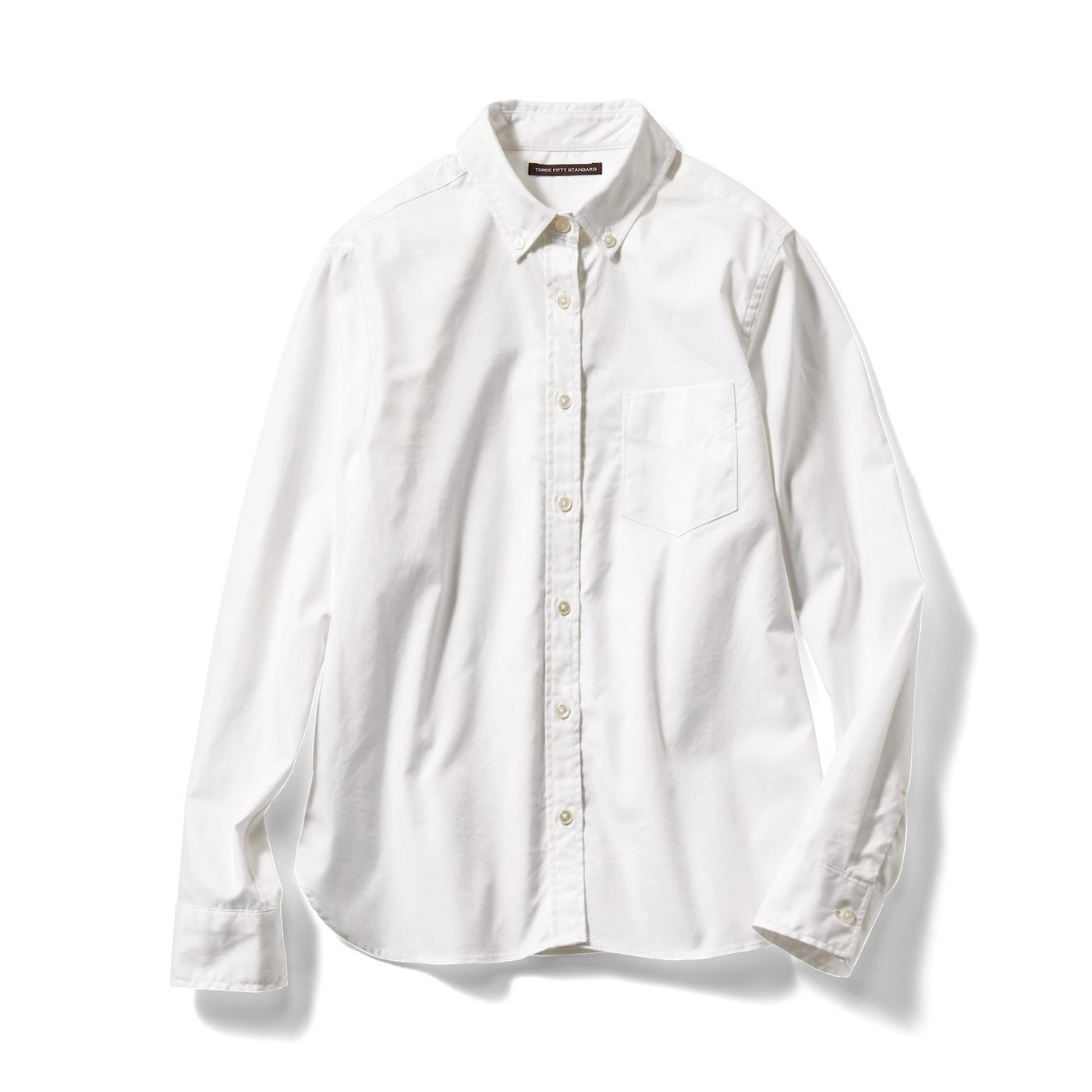 フェリシモ THREE FIFTY STANDARD 定番ボタンダウンシャツ〈ホワイト〉