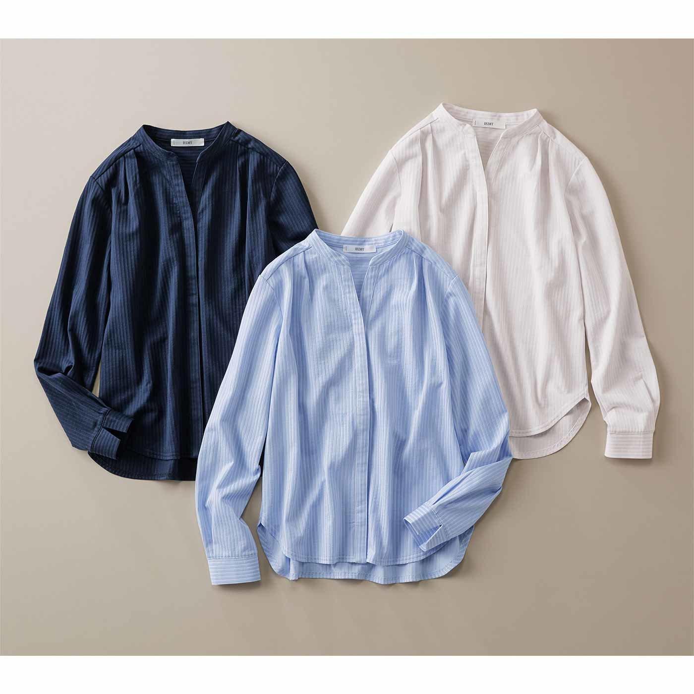 IEDIT[イディット] きちんとシャツ見えする らくちん伸びやかなカットソーシャツブラウスの会
