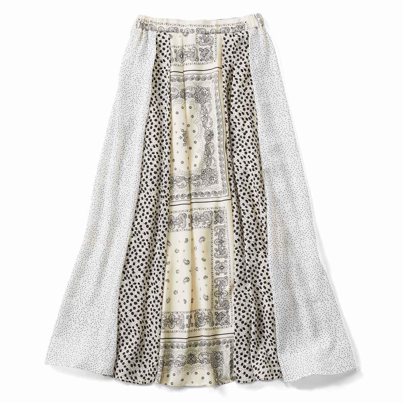 【3~10日でお届け】切り替えで華やか モノトーンスカート〈ホワイト〉