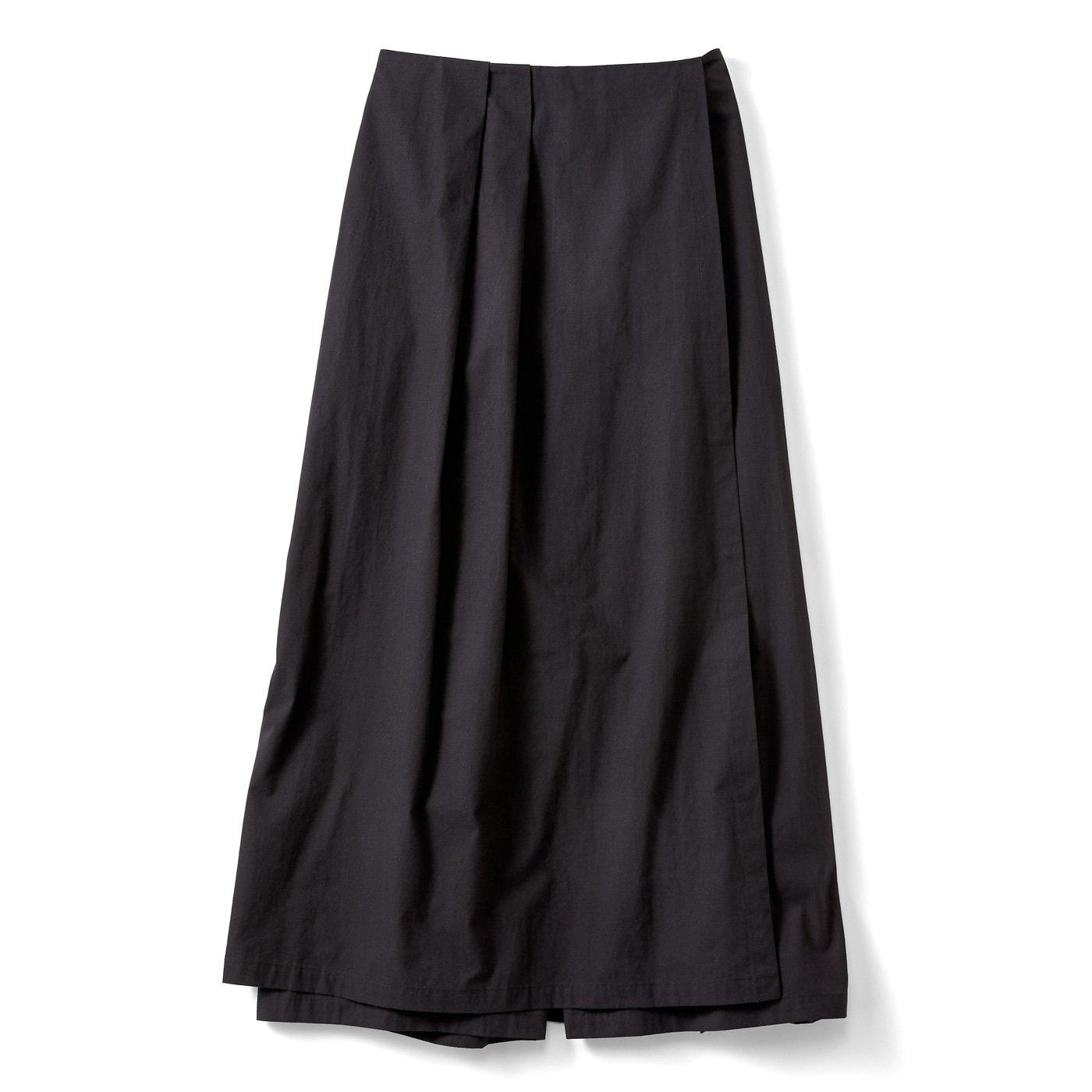 【3~10日でお届け】スカートみたいなラップ風パンツ〈ブラック〉