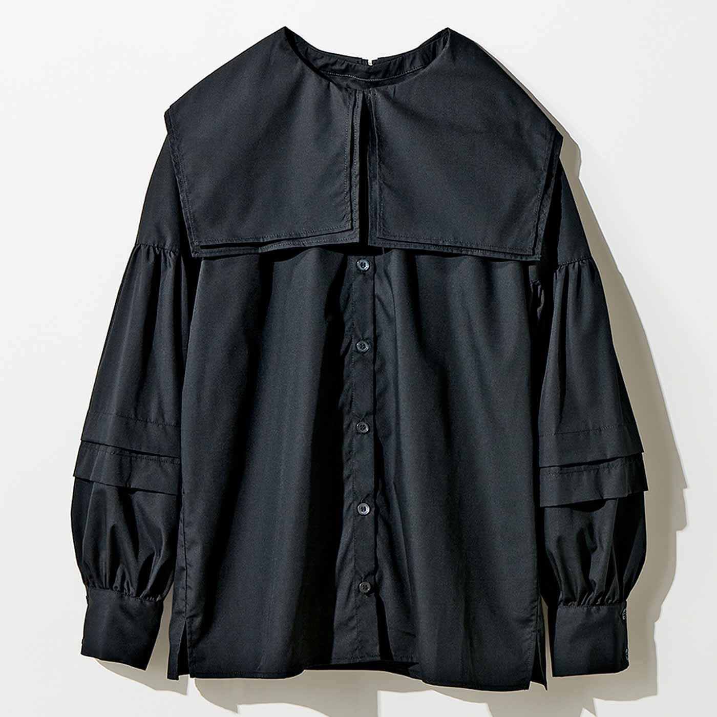 MEDE19F ピューリタンカラーシャツ〈ブラック〉