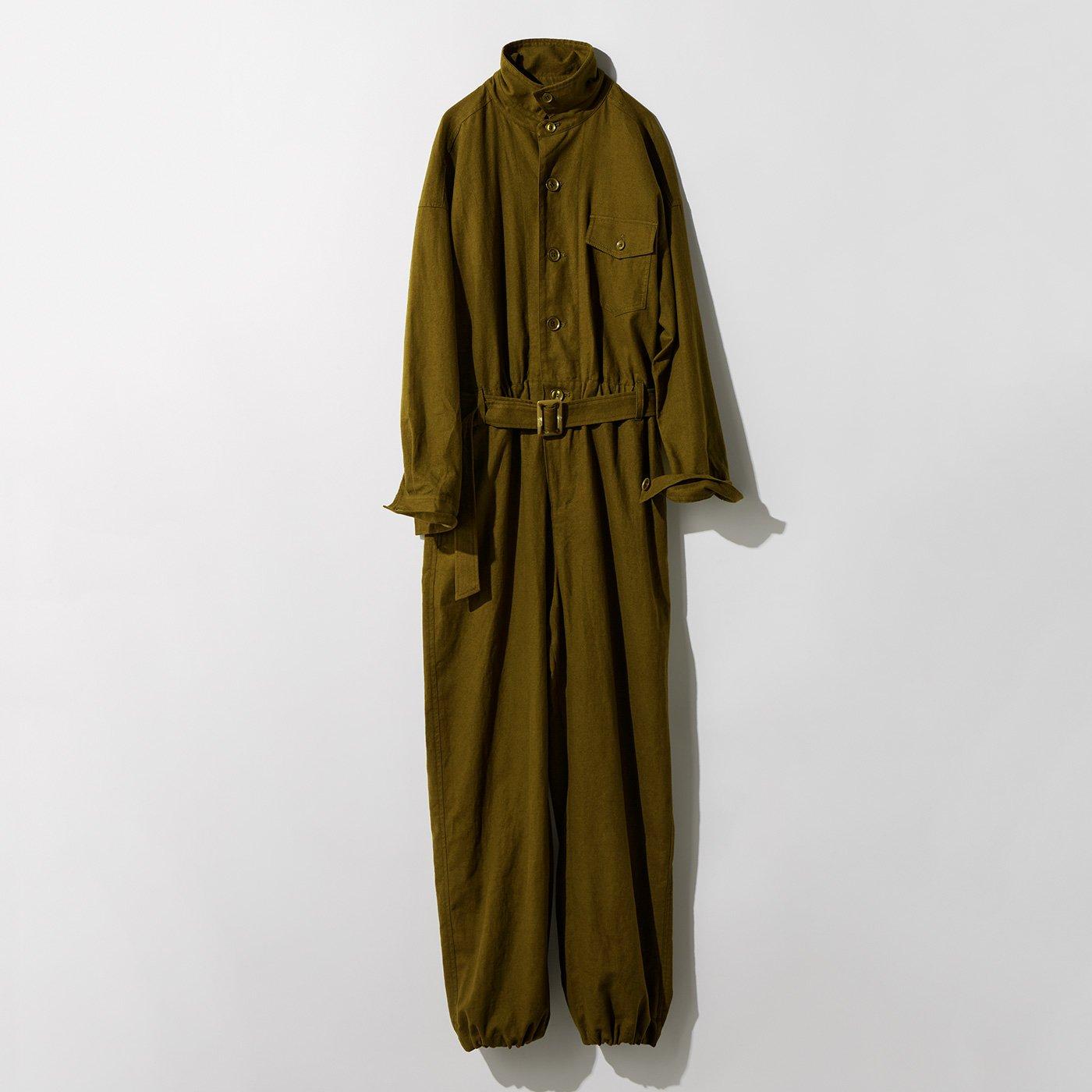 MEDE19F 麻混起毛素材のジャンプスーツ〈オリーブ〉