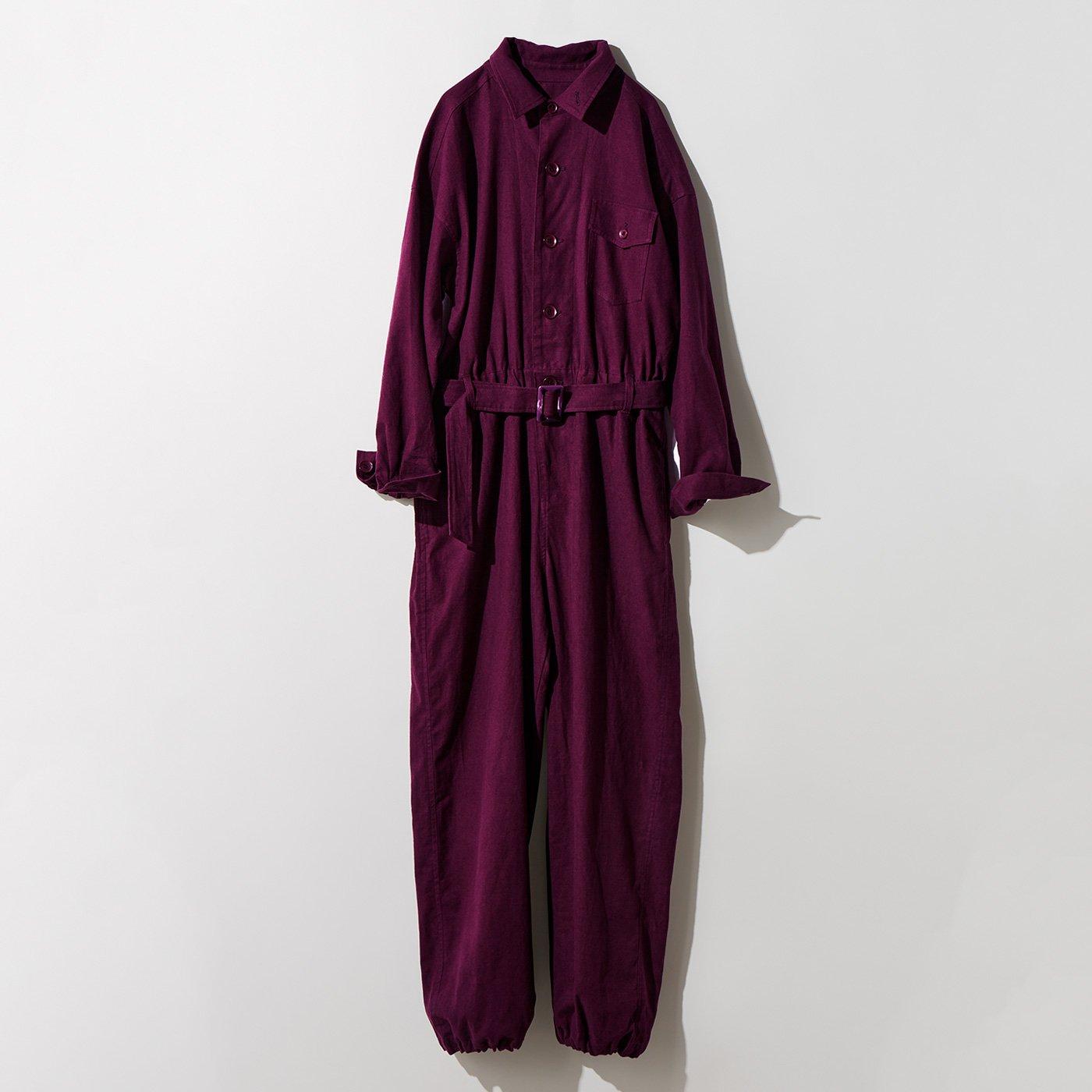 MEDE19F 麻混起毛素材のジャンプスーツ〈ワイン〉