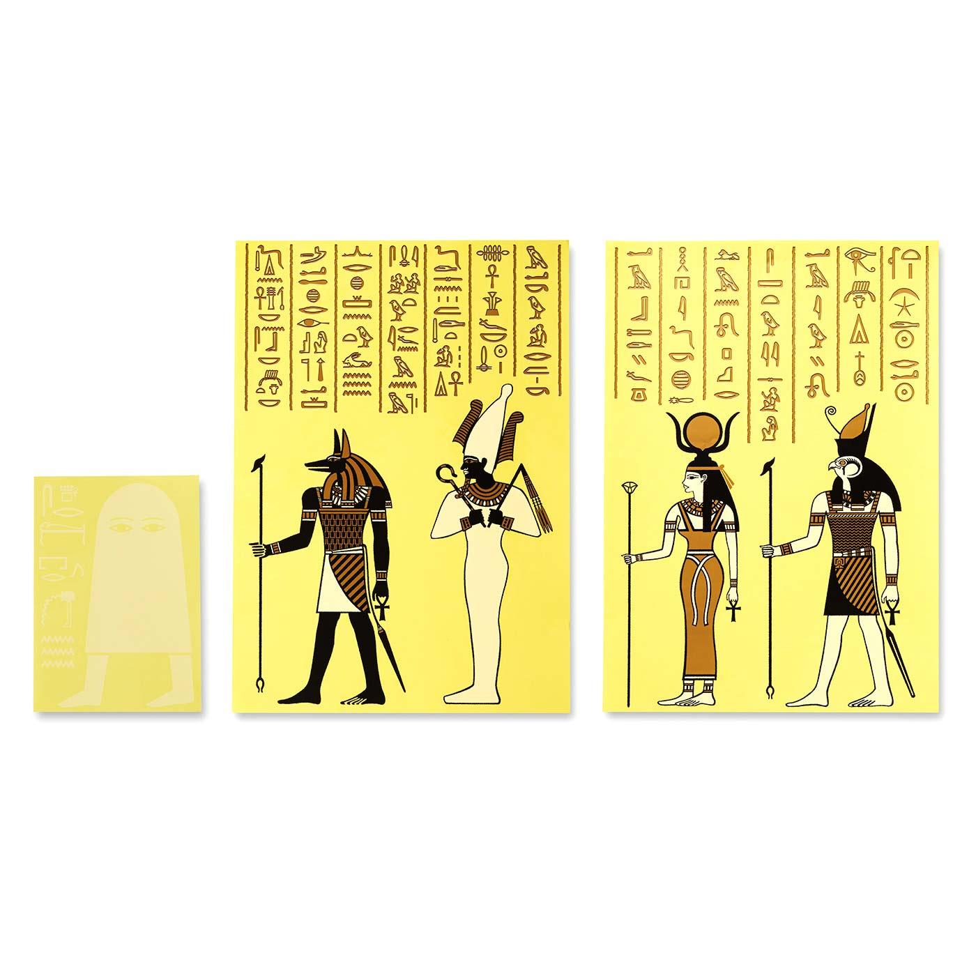 エジプトの壁画やパピルスから抽出した本格的なヒエログリフのシールとアルファベットをヒエログリフ変換した、遊び心あふれるシール、メジェドさまの蓄光シールをセットでお届け。