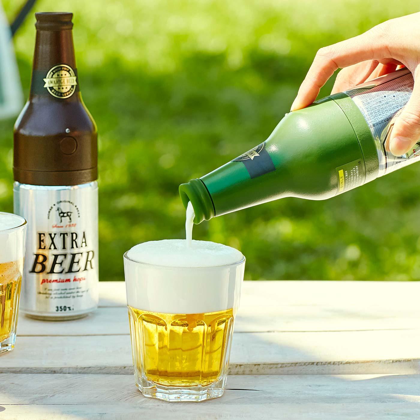 フェリシモ ボタンひとつでクリーミーな泡 缶ビールにセットするビアサーバー〈グリーン〉