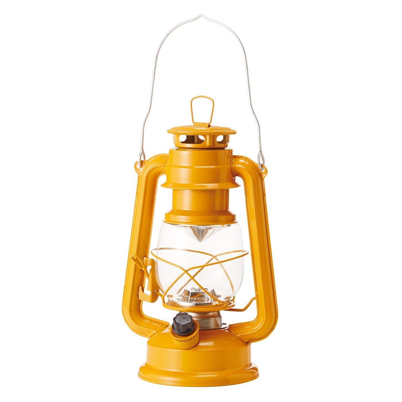 まるで本物の灯(あか)りのよう レトロな風合いのLEDランタン〈ひまわりイエロー〉