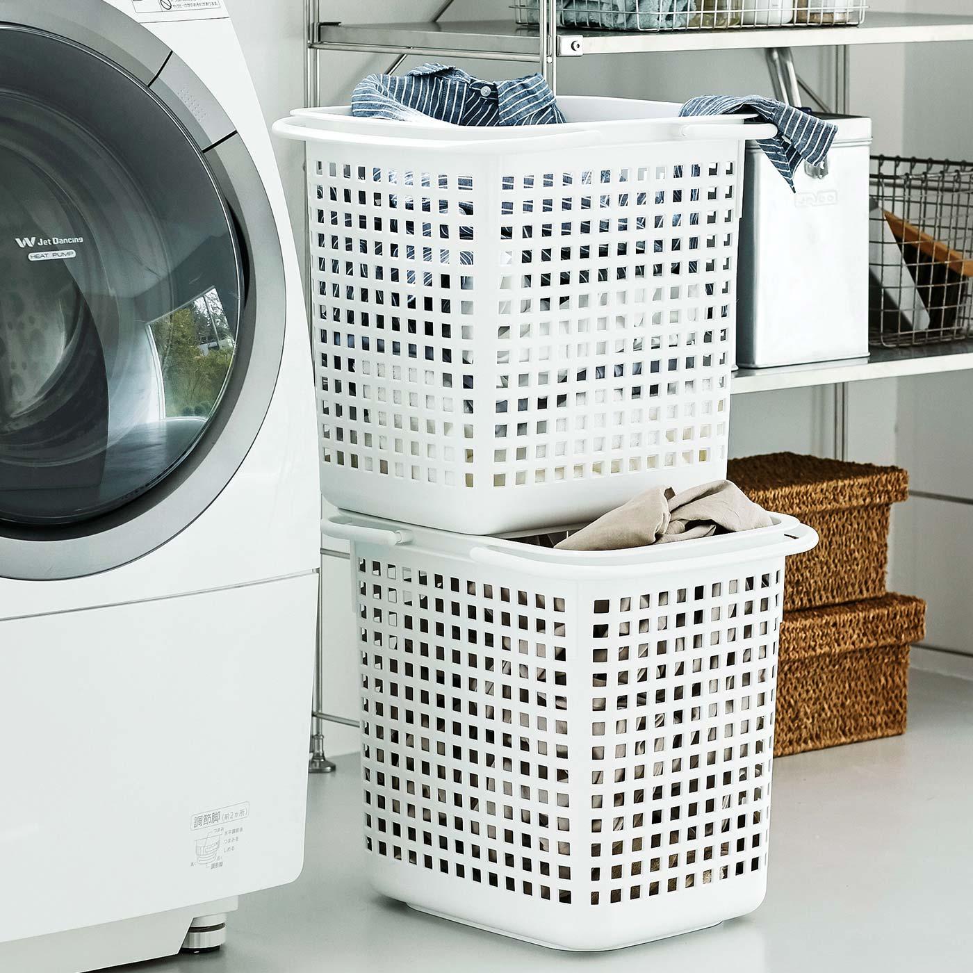 交互に重ねて使えば、省スペースに洗濯物を分別できます。