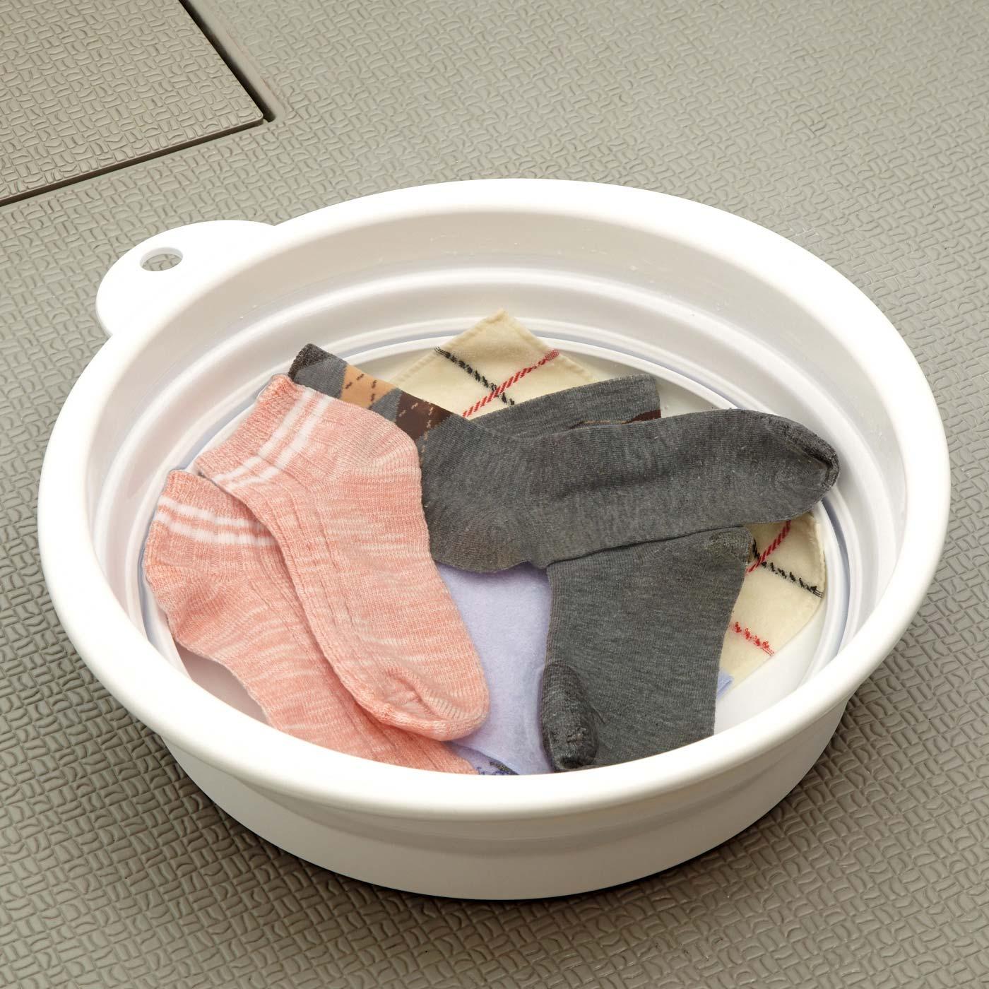 毎日のつけ置き洗いは中段サイズがぴったりです。