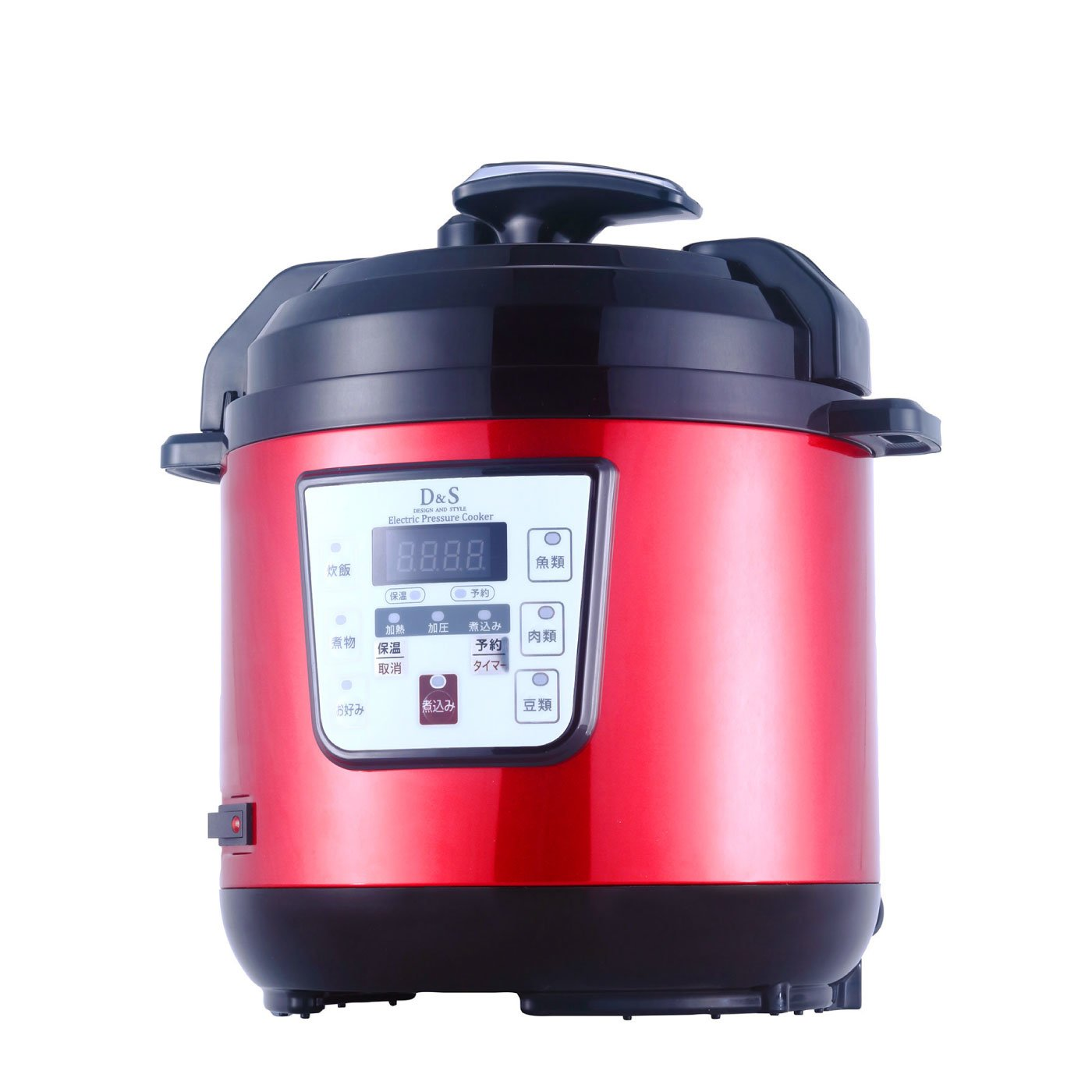 ボタンを押すだけで完成!電気圧力鍋2.5L 赤黒カラー