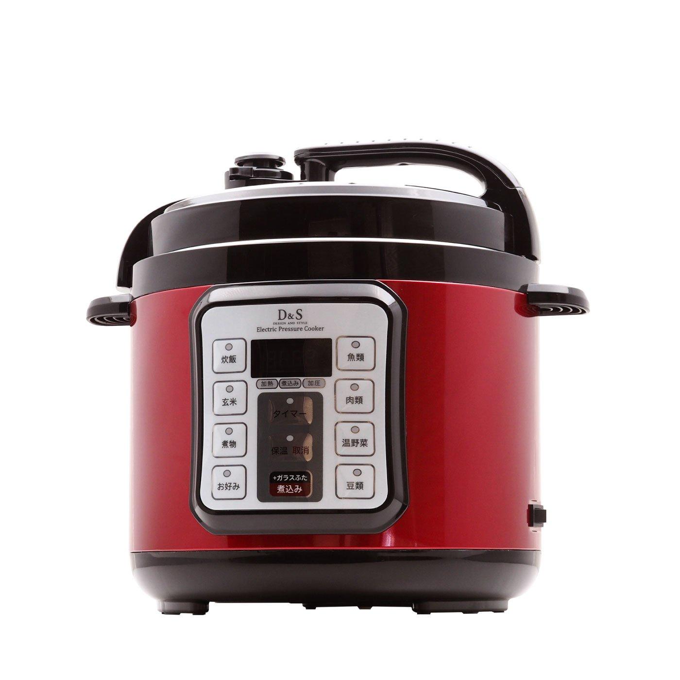 ボタンを押すだけで完成!電気圧力鍋4.0L 赤カラー