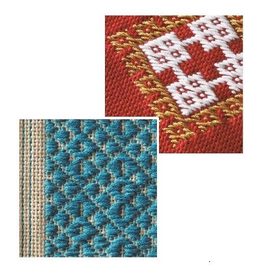 こぎん刺しの伝統を受け継ぐ美しい幾何学模様。2色の糸を使った作品にも挑戦。