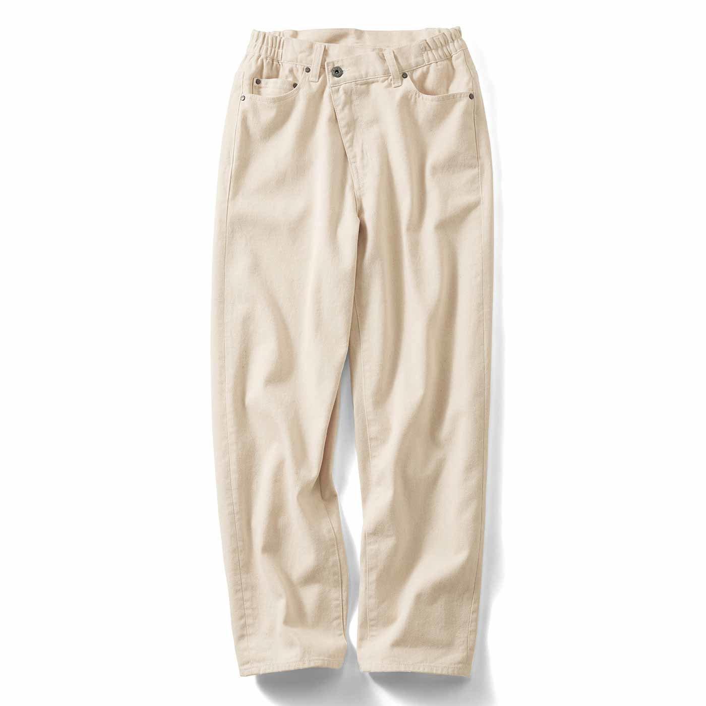 IEDIT[イディット] 大人にちょうどいい斜めファスナーのゆるストレートジーンズ〈生成りホワイト〉