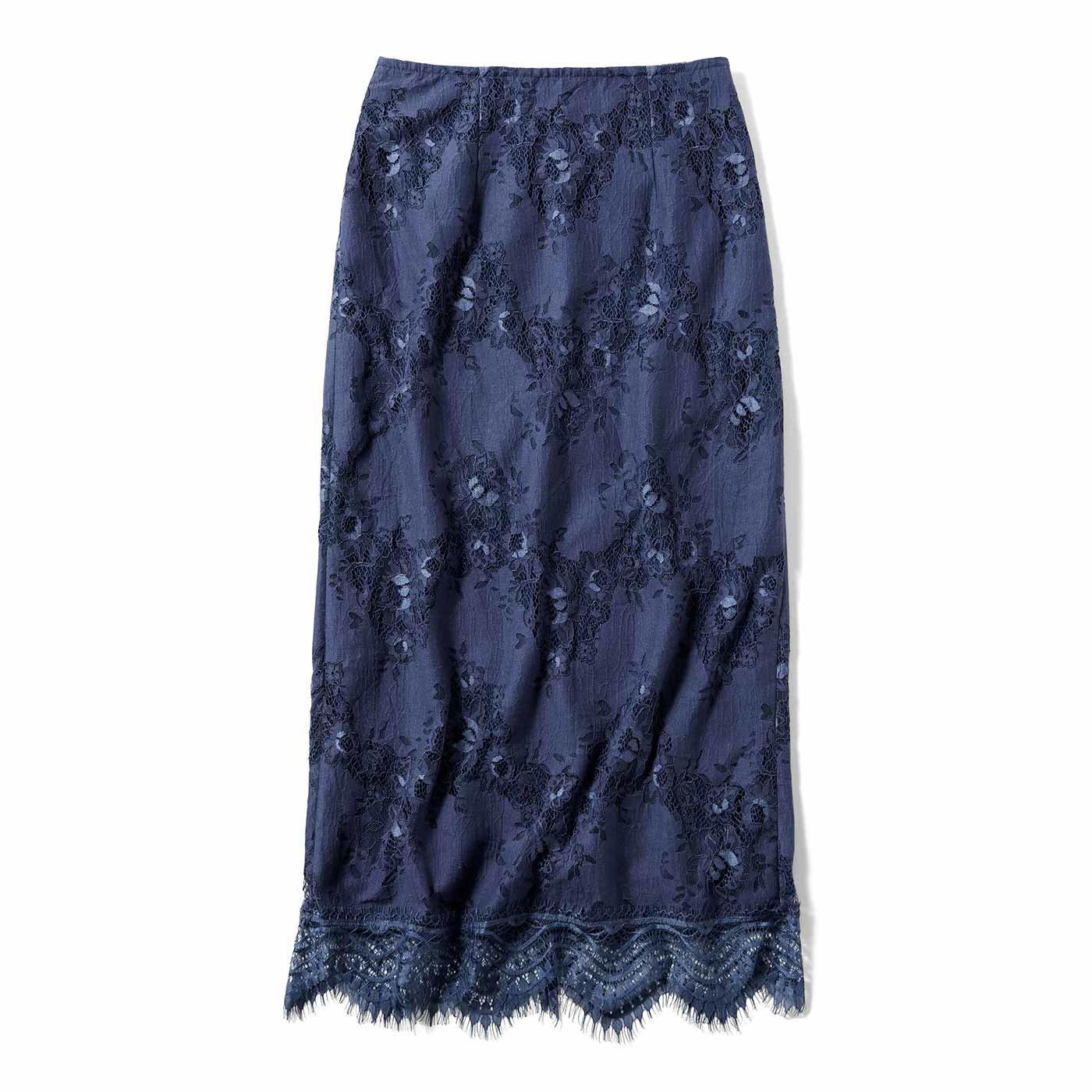 IEDIT[イディット] コーデがすっきり見える レースIラインスカート〈グレイッシュネイビー〉