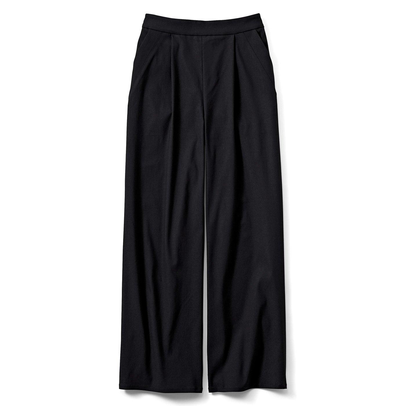 IEDIT[イディット] ぐいっとしなやか美脚もかなう ストレッチ素材のエアノビワイドパンツ〈ブラック〉