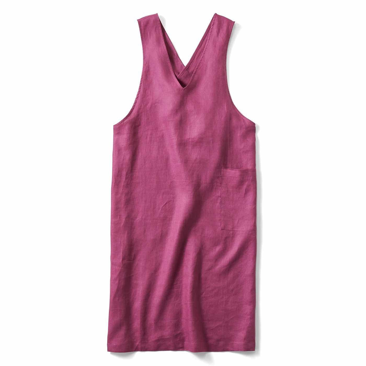 IEDIT[イディット] 麻混素材のジャンパースカート風エプロン〈ローズパープル〉