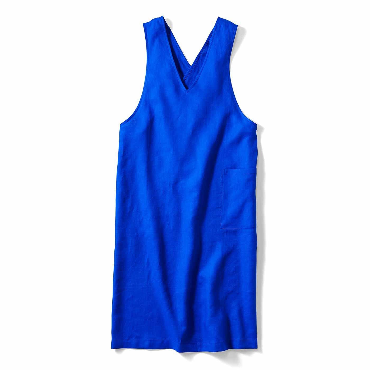IEDIT[イディット] 麻混素材のジャンパースカート風エプロン〈ロイヤルブルー〉