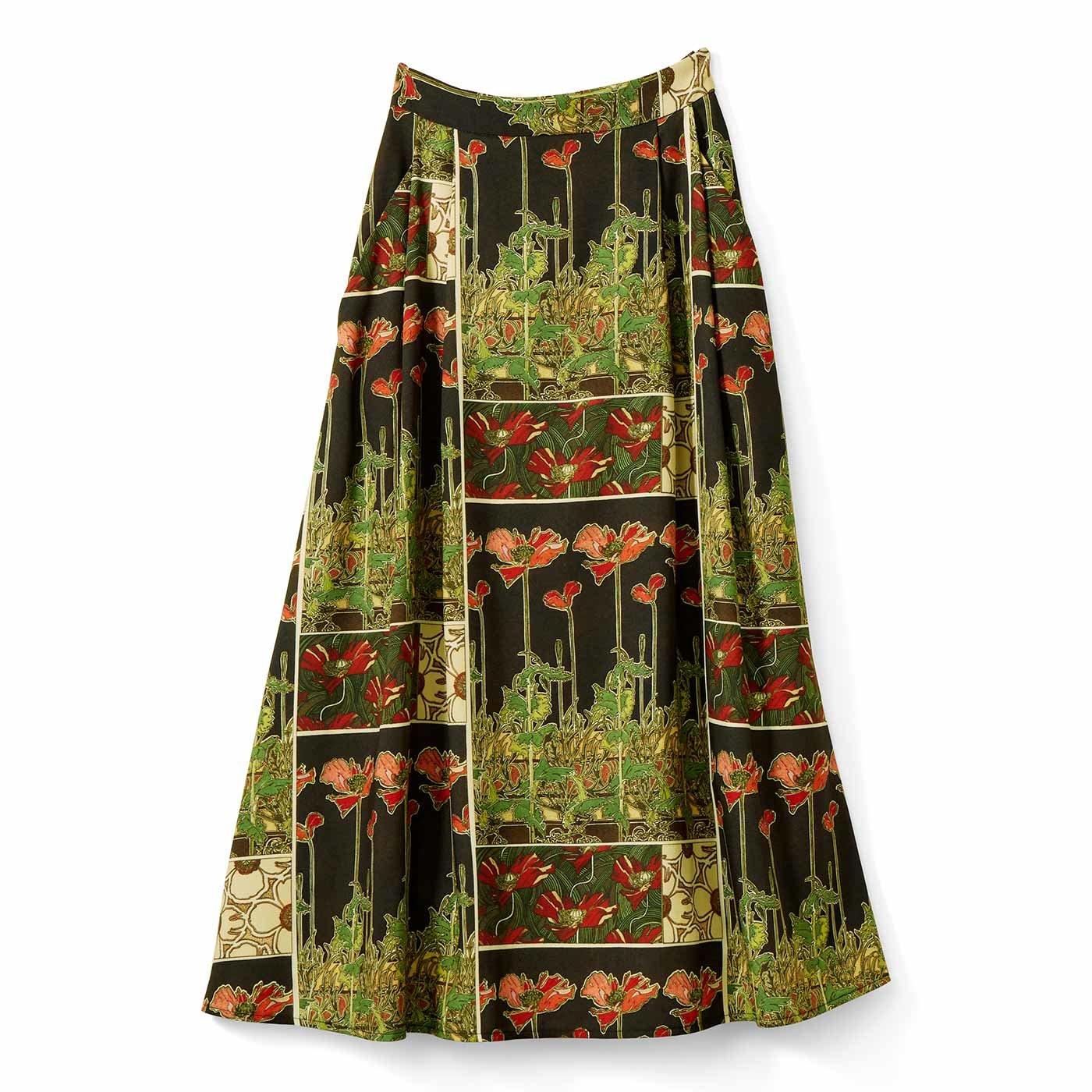 IEDIT[イディット] 優美なミュシャの図案をまとう クラッシックなプリントスカート〈ブラック〉