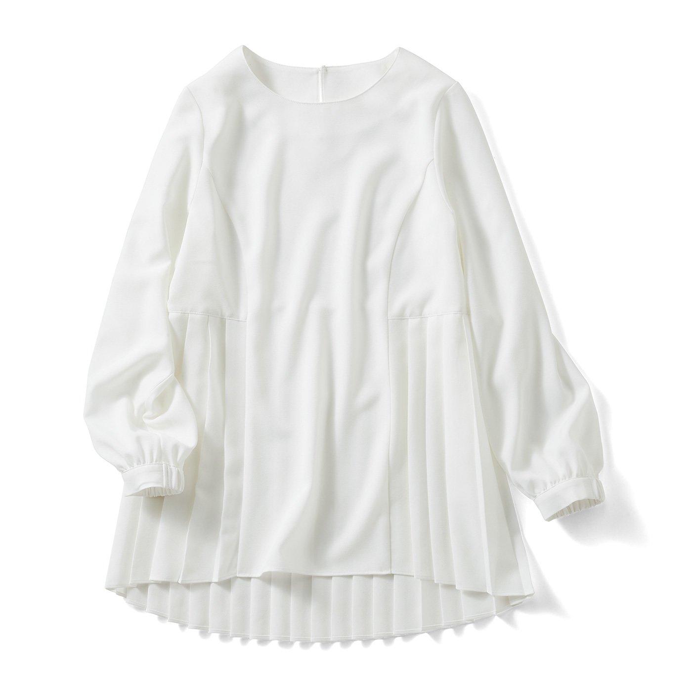 IEDIT[イディット] 抗菌防臭がうれしい 後ろ姿も美しいバックプリーツトップス〈ホワイト〉