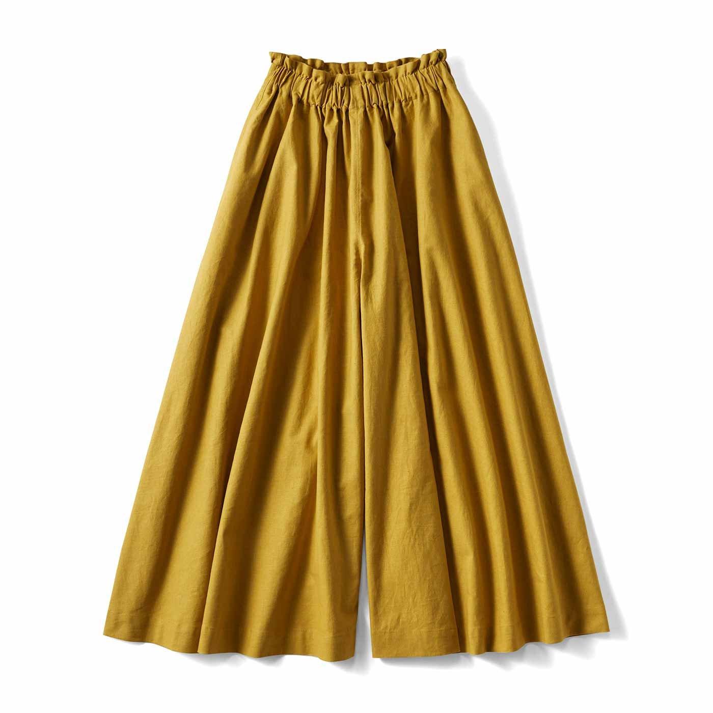 スカートみたいな ちょい厚コットンリネンのボリュームガウチョパンツ〈マスタードイエロー〉