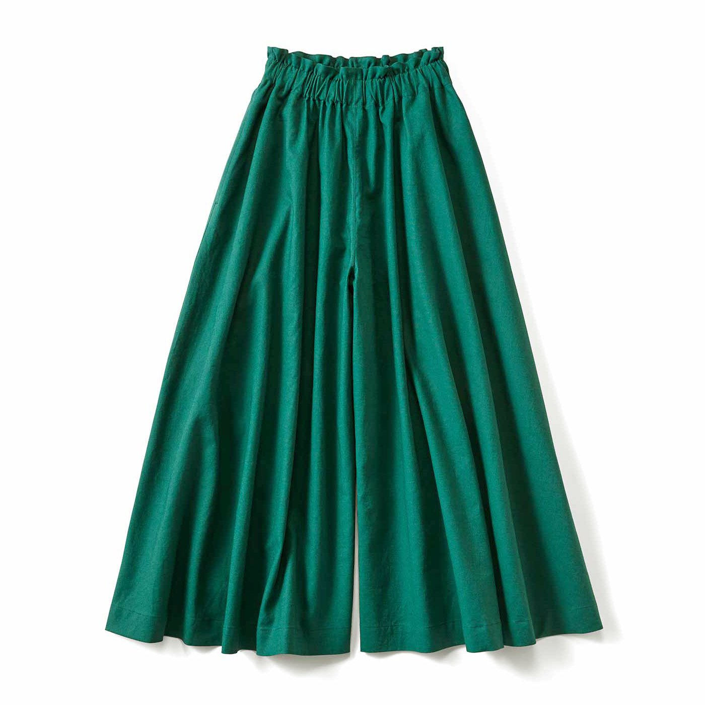 スカートみたいな ちょい厚コットンリネンのボリュームガウチョパンツ〈フォレストグリーン〉