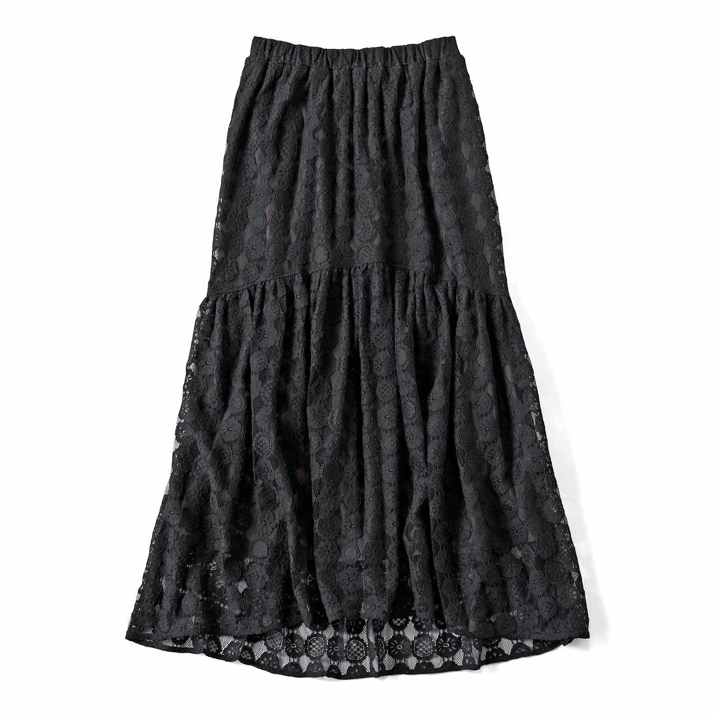クッキーレースのロングテールティアードスカート〈ブラック〉