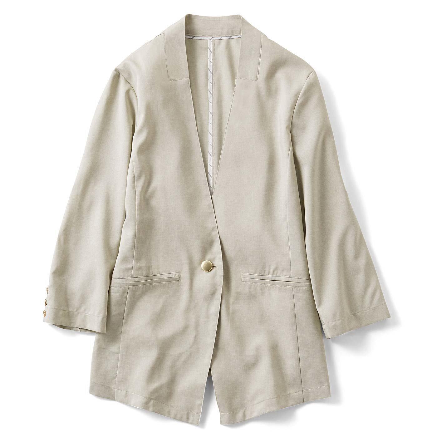 IEDIT イージーケアできれいをキープする さらっと軽やかなリネンライクジャケット〈ドライベージュ〉