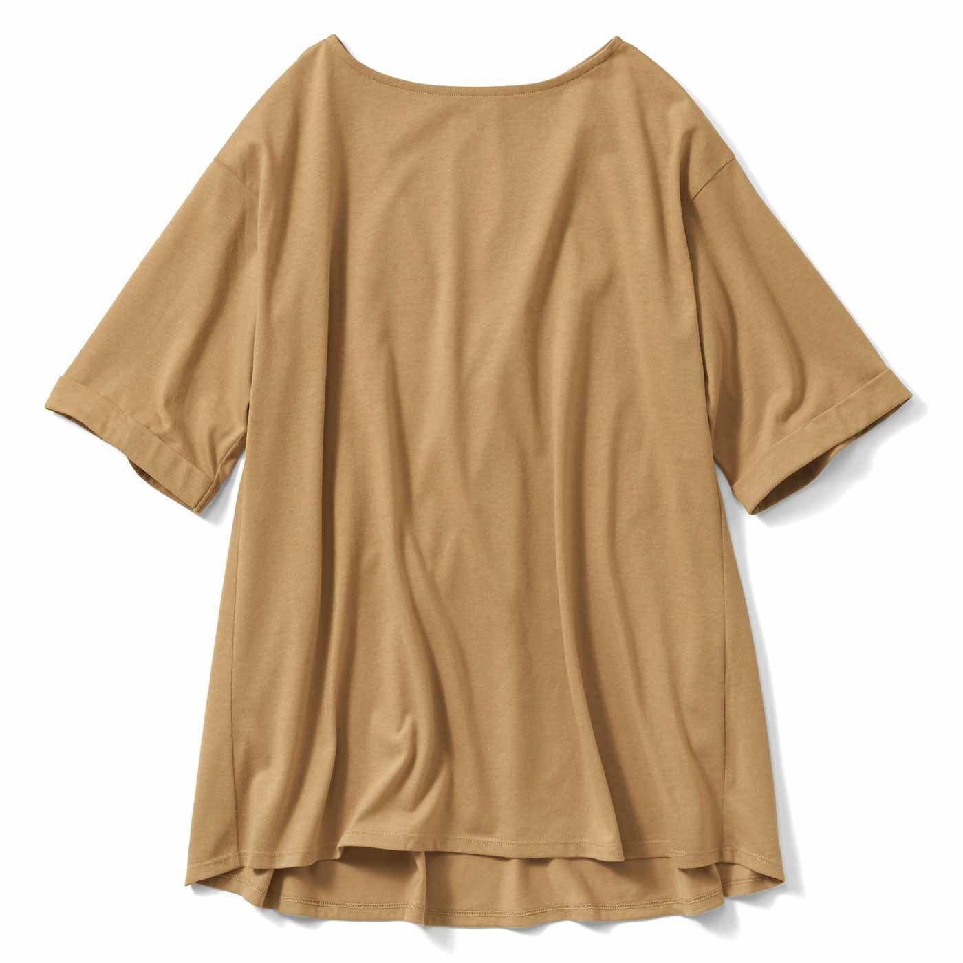 IEDIT[イディット] 汗じみ軽減加工をほどこした 長め丈フレアーTシャツの会