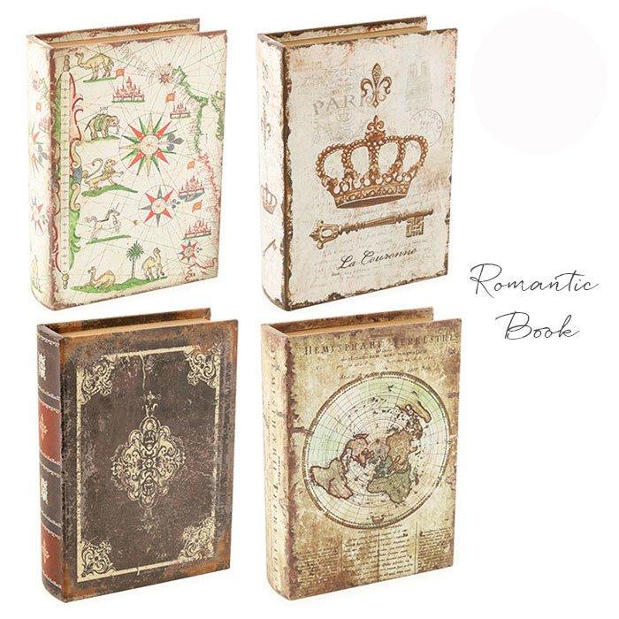 アンティークの洋書みたい ロマンティックなブック型ボックスL